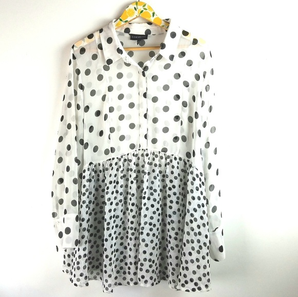 e4fbadc825c Lane Bryant Tops - Lane Bryant White Shirt Black Polka Dots Sz 2X